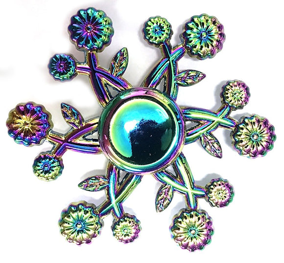 Fidget Zinc Alloy Metal Small Daisy Spinner (12 Flowers w/ Star, Colorful/Rainbow)