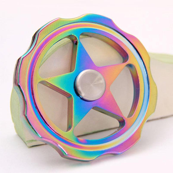 Fidget Zinc Alloy Metal Spinner (Colorful Rainbow - Star Wheel)