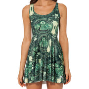DOLLA DOLLA BILL REVERSIBLE SKATER DRESS