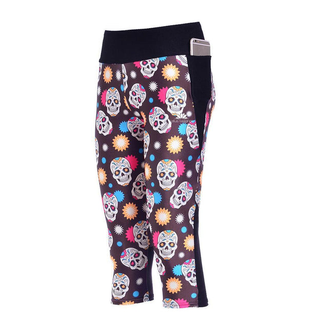 COLORFUL SKULLS ATHLETIC CAPRI