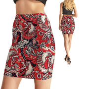 RED ROOSTER BODYCON SKIRT