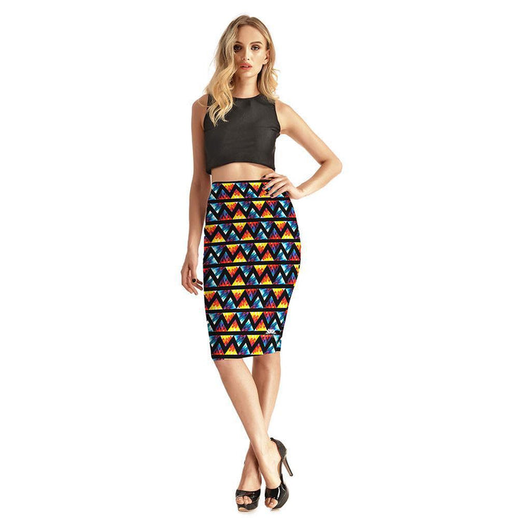 COLOR TRIANGLES PENCIL SKIRT