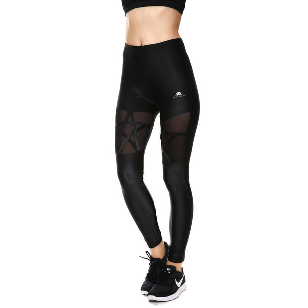 BLACKOUT PENTAGRAM MESH LEGGINGS