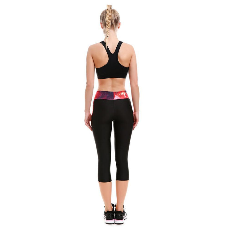 Red Athletic Long Capri - Lotus Leggings