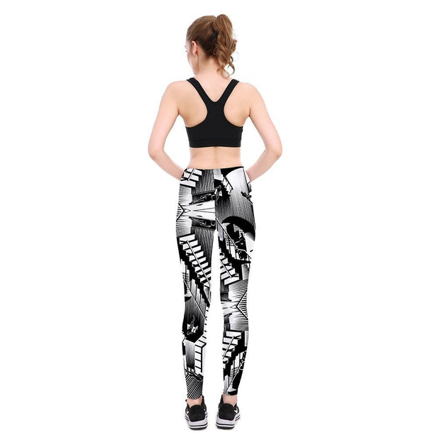 B&W ABSTRACT ART LEGGINGS
