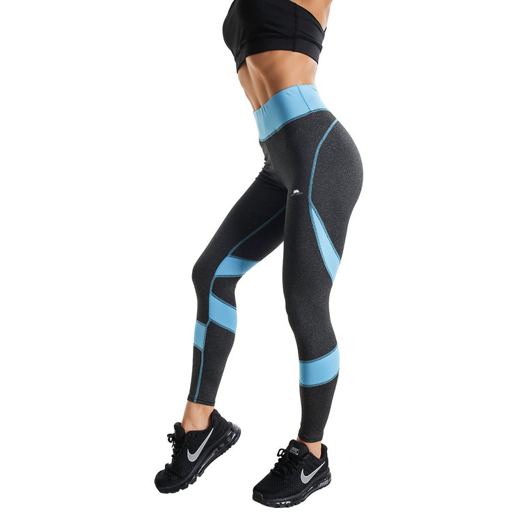 BLACK & BLUE HIGH-RISE SPIRAL LEGGINGS