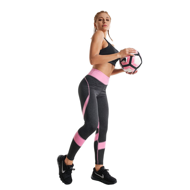 BLACK & PINK HIGH-RISE SPIRAL LEGGINGS