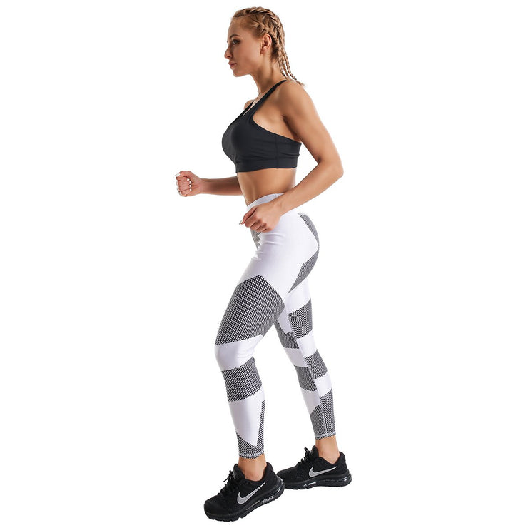 WHITE HEXAGONAL PRINTED LEGGINGS