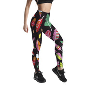 COLORFUL FEATHERS PATTERNED LEGGINGS