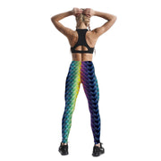 COLORFUL FISH SCALES PATTERNED LEGGINGS