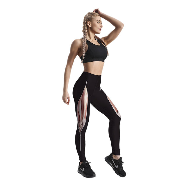 MUSCLE ZIP PATTERNED LEGGINGS