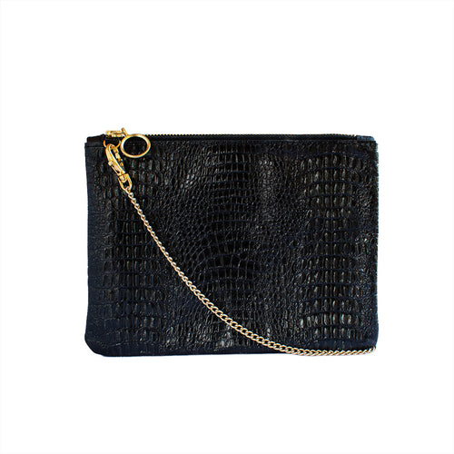 Cara - Black Croc Leather Clutch Bag - Dida Ritchie