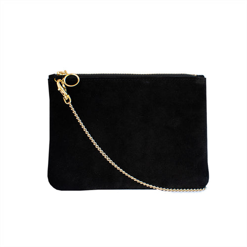 Cara - Black Suede Clutch Bag - Dida Ritchie