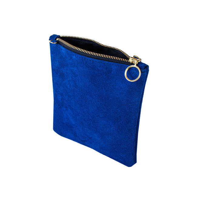 India - Royal Blue Suede Clutch Bag - Dida Ritchie