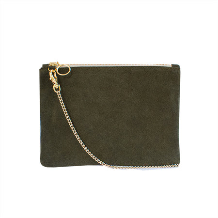 Cara - Black Suede Clutch Bag