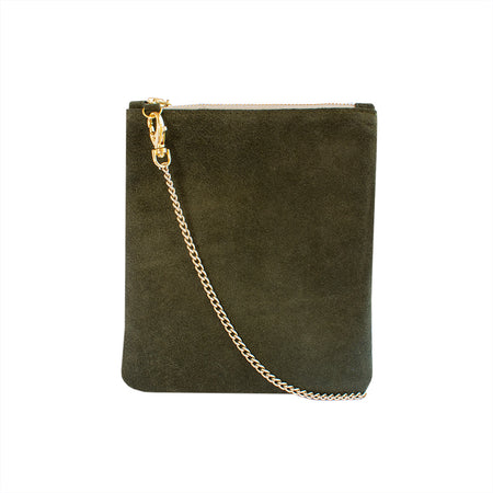 Cara - Black Croc Leather Clutch Bag