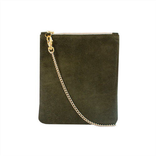 India - Olive Green Suede Clutch Bag - Dida Ritchie
