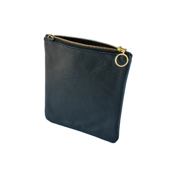 India - Black Leather Clutch Bag - Dida Ritchie
