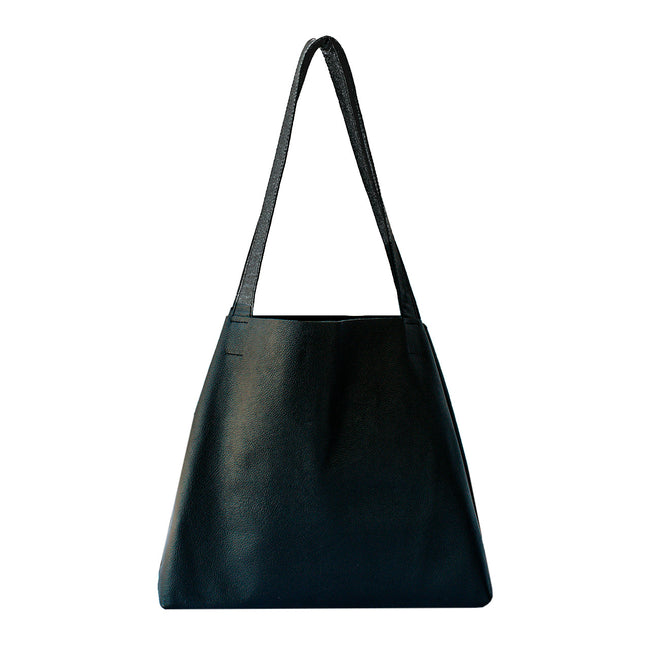 Tessa - Black Leather Landscape Tote Bag - Dida Ritchie