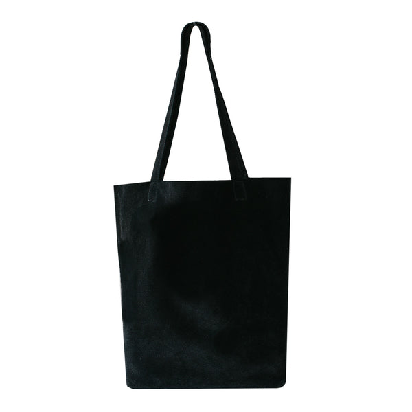 Ella - Black Suede Portrait Tote Bag - Dida Ritchie