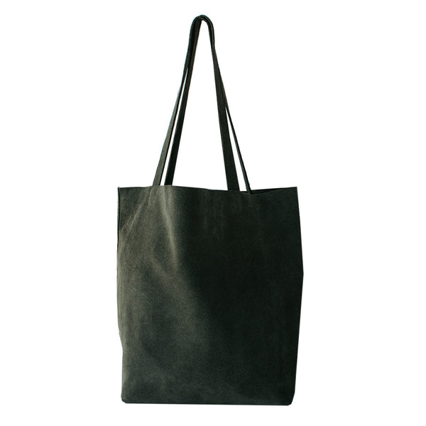 Ella - Olive Green Suede Portrait Tote Bag - Dida Ritchie