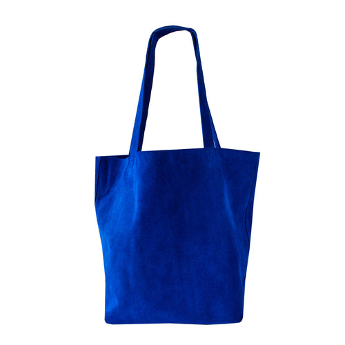 Ella - Royal Blue Suede Portrait Tote Bag - Dida Ritchie