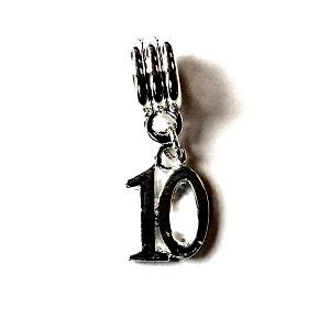 Silver Plated Number 10 Drop Charm
