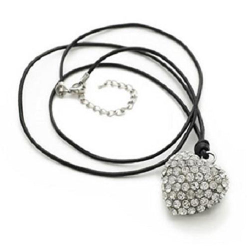Silver 'Heart 2 Sparkle' Crystal Pendant Leather Chain Necklace