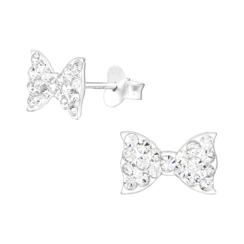 Children's Sterling Silver Crystal Bow Stud Earrings