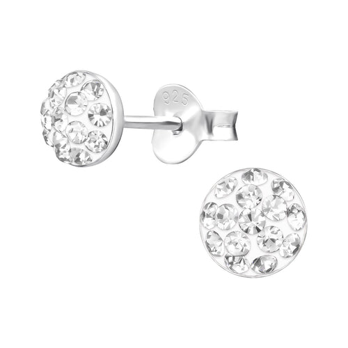 Children's Sterling Silver Round Stud Earrings with Diamante Crystals