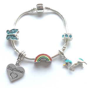 Children's Big Sister 'Magical Unicorn' Silver Plated Charm Bracelet