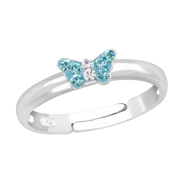 Children's Sterling Silver Adjustable Blue Diamante Butterfly Ring
