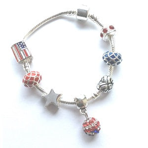 Children's 'I Love America' Silver Plated Charm Bead Bracelet