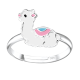 Children's Sterling Silver Adjustable Llama Ring