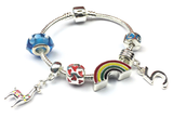 Children's 'Lovely Llama 5th Birthday' Silver Plated Charm Bead Bracelet