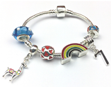 Children's 'Lovely Llama 7th Birthday' Silver Plated Charm Bead Bracelet