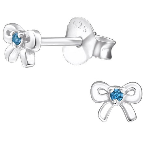 Children's Sterling Silver 'March Birthstone' Bow Stud Earrings