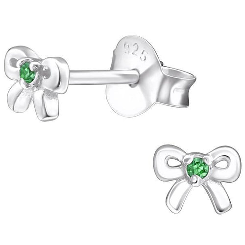 Children's Sterling Silver 'May Birthstone' Bow Stud Earrings