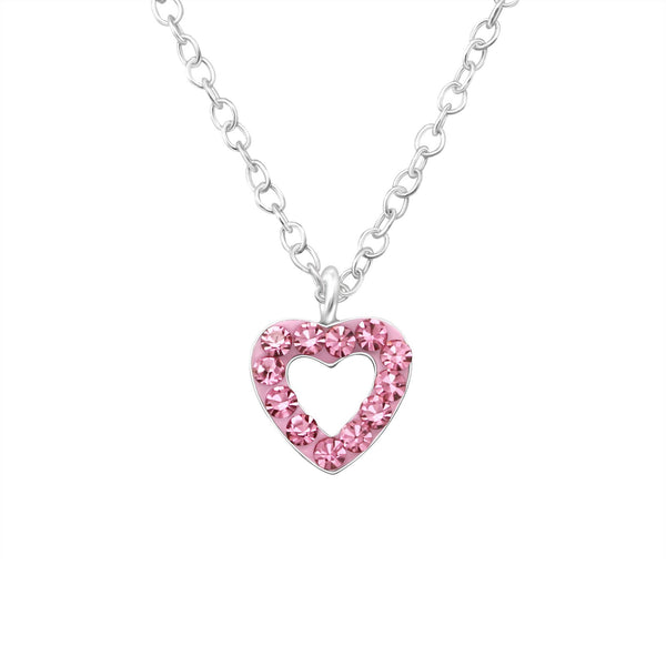 Children's Sterling Silver 'Pink Open Heart' Crystal Pendant Necklace