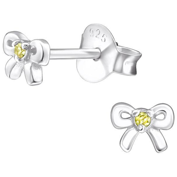 Children's Sterling Silver 'November Birthstone' Bow Stud Earrings