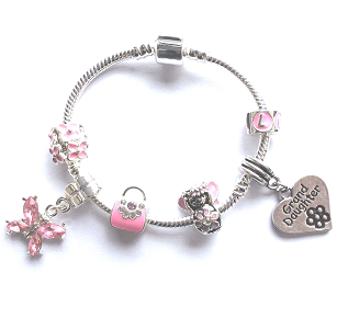 Children's Granddaughter 'Pink Fairy Dream' Silver Plated Charm Bracelet