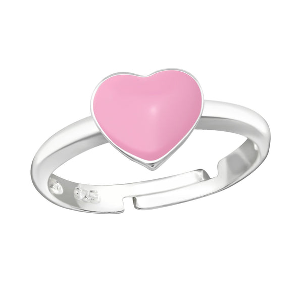 Children's Sterling Silver Adjustable Pink Heart Ring