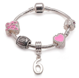 Children's Pink 'Happy 6th Birthday' Silver Plated Charm Bead Bracelet