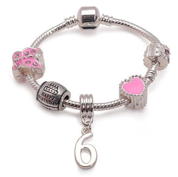 Liberty Charms Teenagers Pink Leather Bracelet.with Silver Plated Clasp with Gift Box