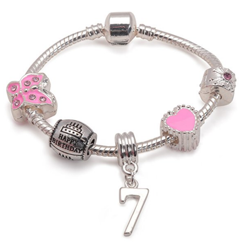 Children's Pink 'Happy 7th Birthday' Silver Plated Charm Bead Bracelet