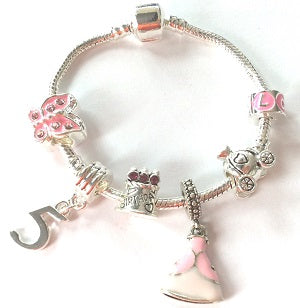 Children's 'Pink Princess 5th Birthday' Silver Plated Charm Bead Bracelet