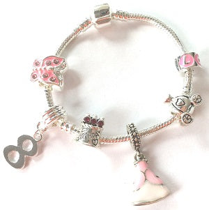 Children's 'Pink Princess 8th Birthday' Silver Plated Charm Bead Bracelet