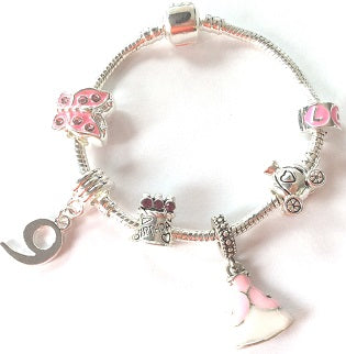 Children's 'Pink Princess 9th Birthday' Silver Plated Charm Bead Bracelet