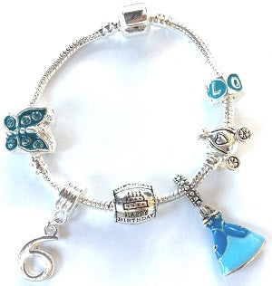 Blue Princess 6th Birthday Girl Gift - Silver Plated Charm Bracelet