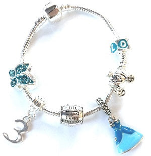 Blue Princess 5th Birthday Girl Gift - Silver Plated Charm Bracelet